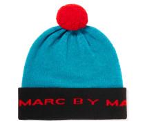 Color-block Merino Wool Beanie Türkis