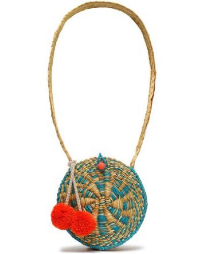 Pompom-embellished Straw Shouldr Bag Ecru Size --