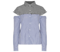 Marvin Cutout Checked And Striped Cotton Top Mehrfarbig