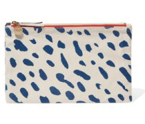 Contrast printed cotton and denim double clutch