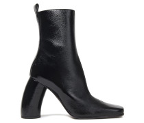Crinkled Patent-leather Ankle Boots