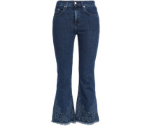 Frayed embroidered high-rise flared jeans