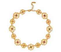 Gold-tone crystal and bead necklace