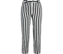 Harleyford Striped Cotton-blend Slim-leg Pants Schwarz