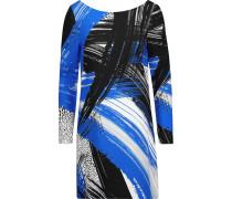 Printed Crepe Mini Dress Blau