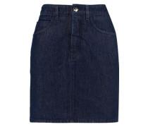 Satin-paneled denim mini skirt
