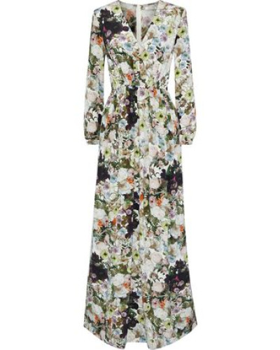 Pleated Floral-print Silk-crepe Maxi Dress Multicolor