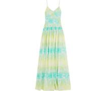 Gathered printed silk-crepe maxi dress