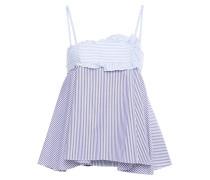 Woman Ruffled Paneled Cotton Oxford Top Light Blue