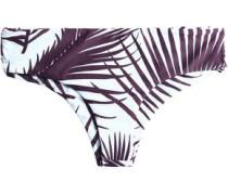 Low-rise two-tone printed stretch-knit bikini briefs