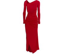 Asymmetric Ruched Stretch-jersey Gown Rot
