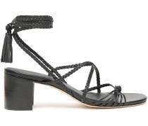 Tasseled Braided Leather Sandals