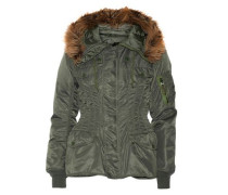 Hooded faux fur-trimmed satin-twill jacket