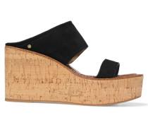 Suede Wedge Sandals Schwarz