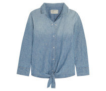 The Western Tie-front Cotton-blend Chambray Shirt Mittelblauer Denim