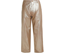 Coated cotton-twill wide-leg pants