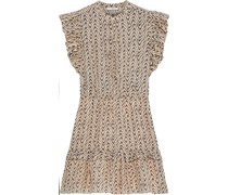 Krystina C Bedrucktes Minikleid aus Einer Baumwoll-seidenmischung mit Rüschen