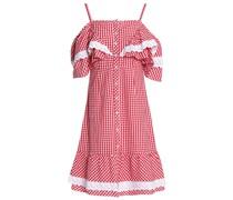 Carter Cold-shoulder Gingham Cotton-poplin Dress
