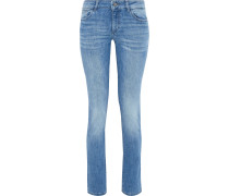 Woman Nicky Faded Mid-rise Slim-leg Jeans Mid Denim