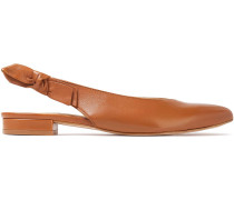 Woman Penelope Leather Slingback Point-toe Flats Light Brown