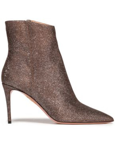 Metallic Stretch-knit Ankle Boots Brass