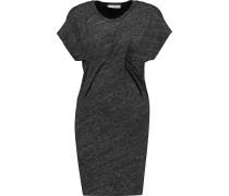 Loretta Gathered Slub Cotton-blend Jersey Mini Dress Dunkelgrau