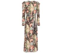 Espionage Ruffled Floral-print Stretch-silk Crepe Midi Dress