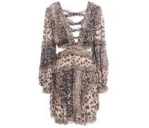 Allia Cutout Lace-up Leopard-print Georgette Mini Dress
