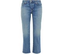 Cropped Boyfriend-jeans mit Fransen
