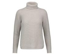Sequin-embellished ribbed wool-blend turtleneck sweater