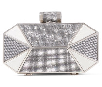 Lamé And Glittered Leather Clutch Silber