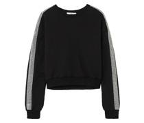 Cropped Sweatshirt aus Baumwollfrottee mit Kristallverzierung