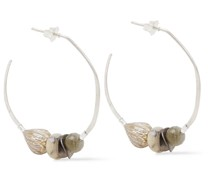 Sterling Silver Multi-stone Hoop Earrings