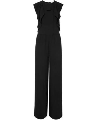 Woman Ruffled Satin-crepe Jumpsuit Black
