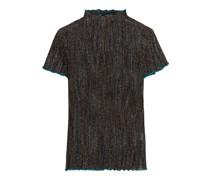 Pleated Metallic Crochet-knit Top