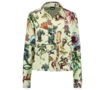 Printed cotton-blend piqué shirt