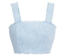 Cropped Frayed Bouclé-tweed Top