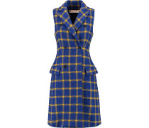 Double-breasted Checked Wool Vest Ultramarin
