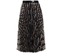 Pleated Striped Sequined Tulle Midi Skirt