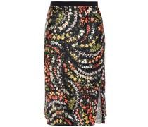 Grosgrain-trimmed Floral-print Satin Skirt
