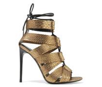 Lace-up metallic python sandals