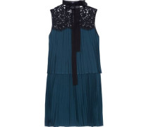 Berenice lace-paneled pleated voile mini dress