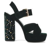 Studded Velvet Platform Sandals