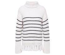 Crochet-trimmed Striped Merino Wool Turtleneck Sweater