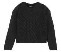 Open Cable Knit Wool Blend Sweater Schwarz