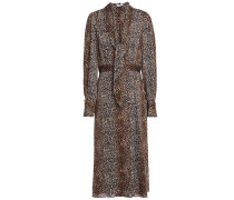 Calanne Leopard-print Crepe De Chine Midi Dress