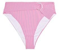 Anais Hoch Sitzendes Bikini-höschen aus Stretch-seersucker mit Streifen und Gürtel