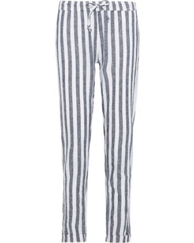 Ella Striped Linen And Cotton-blend Straight-leg Pants Navy