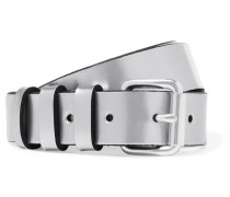 Metallic Leather Belt Silber