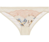 Low-rise printed stretch-tulle and stretch-silk briefs